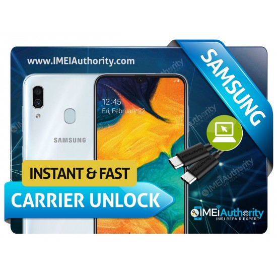 SAMSUNG GALAXY A30 INSTANT REMOTE CARRIER UNLOCK